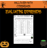 Halloween math - evaluating expressions Halloween code breaker