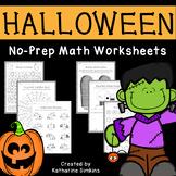 Halloween math no-prep worksheets