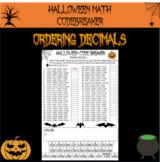 Halloween math - ordering decimals Halloween code breaker