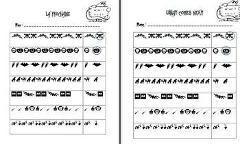 Halloween math patterning - French and English