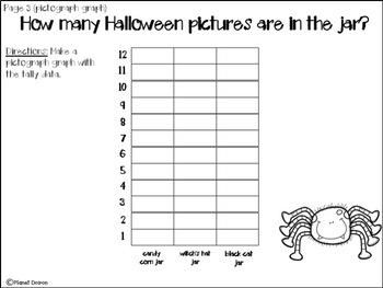Halloween math tallies, bar graph, pictographs activity math center idea