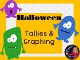 Halloween math tallies, bar graph, pictographs activity math center