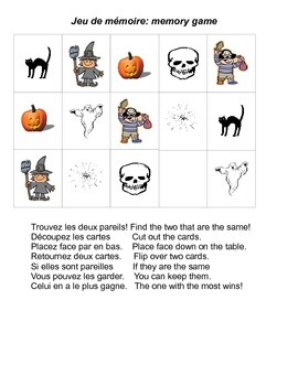 Halloween memory game French and English instructions