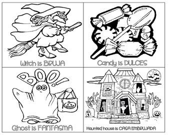 Halloween minibook - Spanish vocabulary
