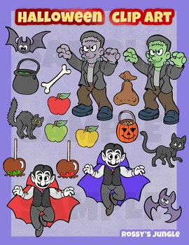 Halloween monsters and candy clip art set