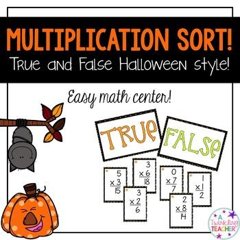 Halloween multiplication math center sort !