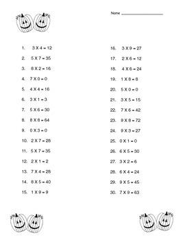 Halloween multiplication printable