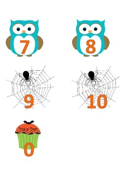 Halloween Number Cards and Addition to 20 Mat