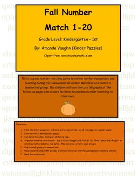 Halloween number match 1-20 plus follow-up worksheet