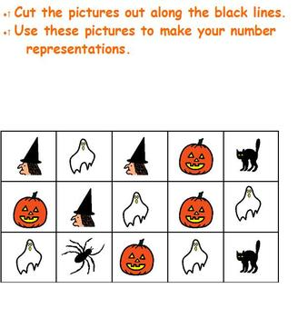 Halloween number representation; cut & paste making sets; Boardmaker special ed