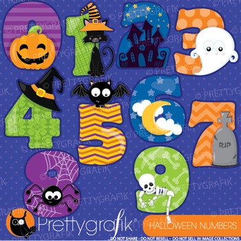 Halloween numbers clipart commercial use, graphics, digital clip art - CL909