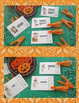 Halloween on the Farm Count and Clip Cards Math Centers Bundle
