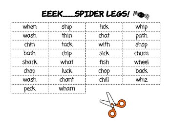 Halloween or Fall Center: Digraph Spiders!