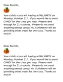 Halloween or Fall Party Note