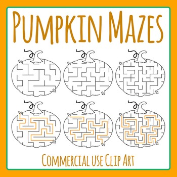 Halloween or Fall Pumpkin Mazes Clip Art Set for Commercial Use