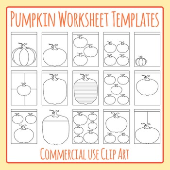 Halloween or Fall Pumpkin Worksheet Templates Clip Art for Commercial Use
