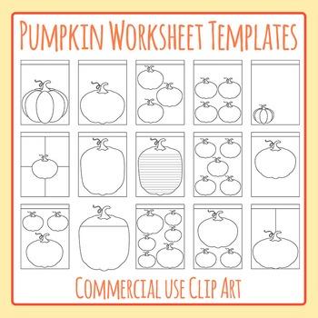 Halloween or Fall Pumpkin Worksheet Templates Clip Art for