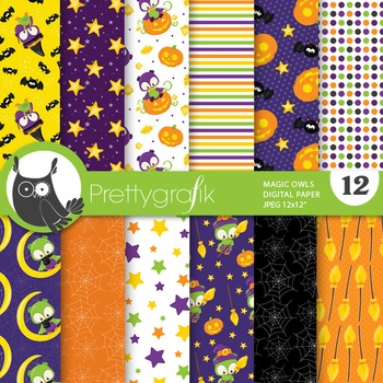 Halloween owl papers, commercial use, scrapbook papers - PS751