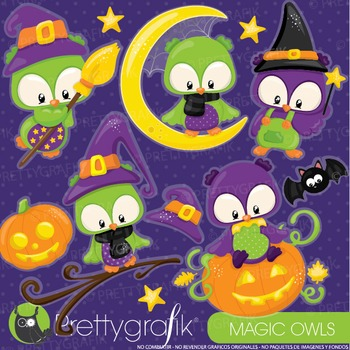 Halloween owls clipart commercial use, graphics, digital clip art - CL912