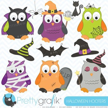 Halloween owls clipart commercial use, vector graphics, digital clip art - CL369