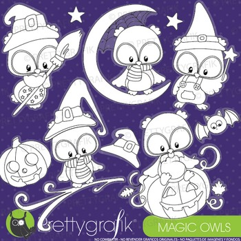 Halloween owls stamps commercial use, vector graphics, images - DS912