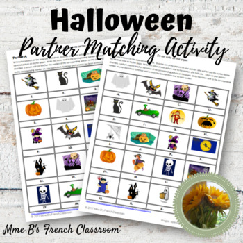 Halloween partner matching game: French and Spanish