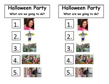 Halloween party visual schedule
