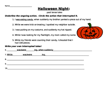 Halloween past tense practice: simple past and past continuous