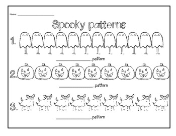 Halloween patterning math center- Grade 1