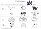 Halloween phonics worksheet