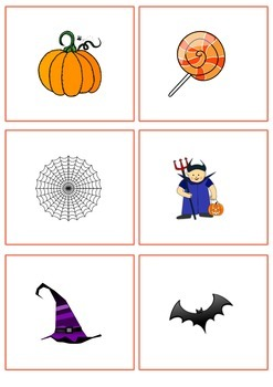 Halloween picture flash cards or flip book pages