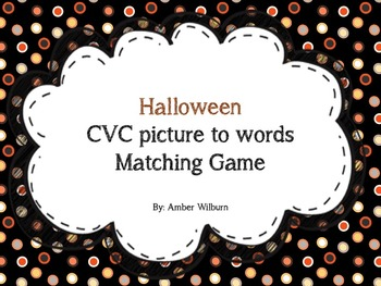 Halloween picture to CVC words matching game