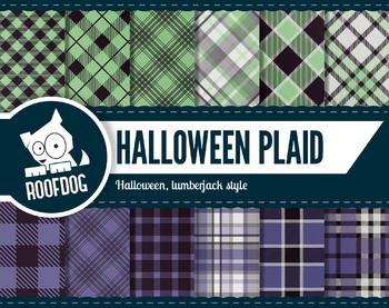 Halloween plaid themed digital papers   buffalo plaid green and purple