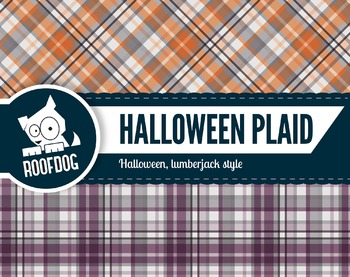 Halloween plaid themed digital papers | buffalo plaid purple and orange