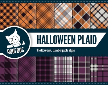 Halloween plaid themed digital papers | buffalo plaid purp