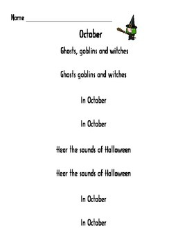 Halloween poems/songs Sight Words Activity