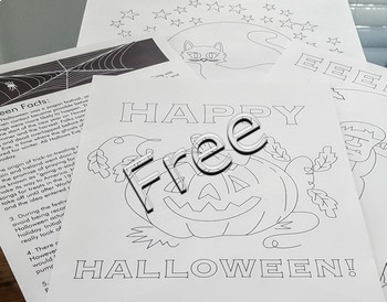 Halloween printable activities door theme decor FREE fact sheet coloring pages