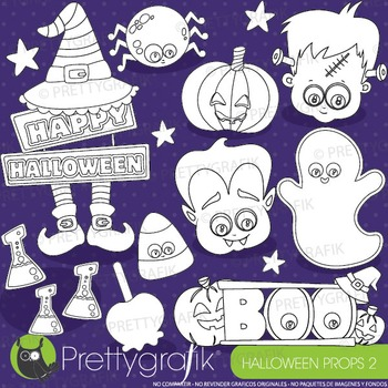 Halloween props stamps commercial use, vector graphics, images - DS919