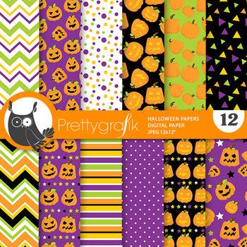 Halloween pumpkin papers, commercial use, scrapbook papers - PS816
