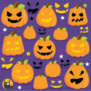 Halloween pumpkins clipart commercial use, vector graphics