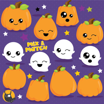 Halloween pumpkins clipart commercial use, vector graphics, digital  - CL1006