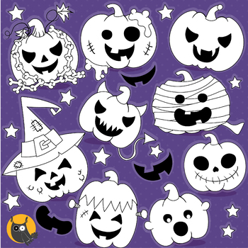 Halloween pumpkins stamps commercial use, vector graphics, images  - DS1186