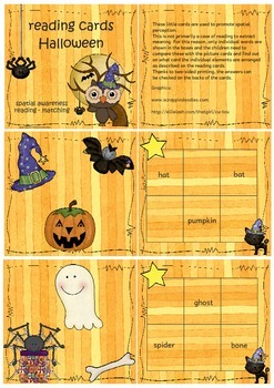 Halloween reading cards