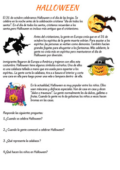 Halloween reading comprehension in Spanish/ Comprension lectora en español