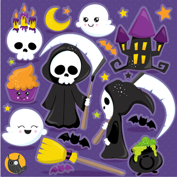 Halloween reaper clipart commercial use, vector graphics, digital  - CL1183