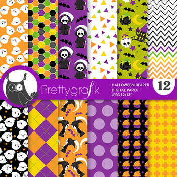 Halloween reaper papers, commercial use, scrapbook papers, pattern - PS957