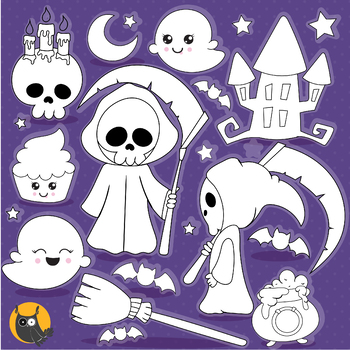 Halloween reaper stamps commercial use, vector graphics, images  - DS1183