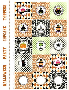 Halloween round labels, cupcake toppers