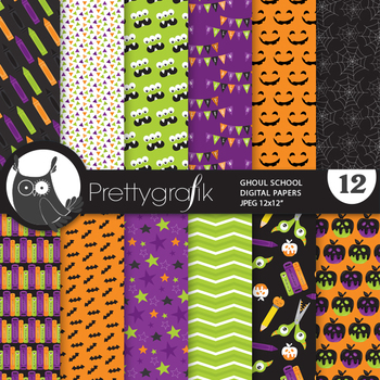 Halloween school papers, commercial use, scrapbook papers, pattern - PS952