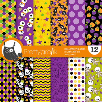 Halloween school papers, commercial use, scrapbook papers, pattern - PS956